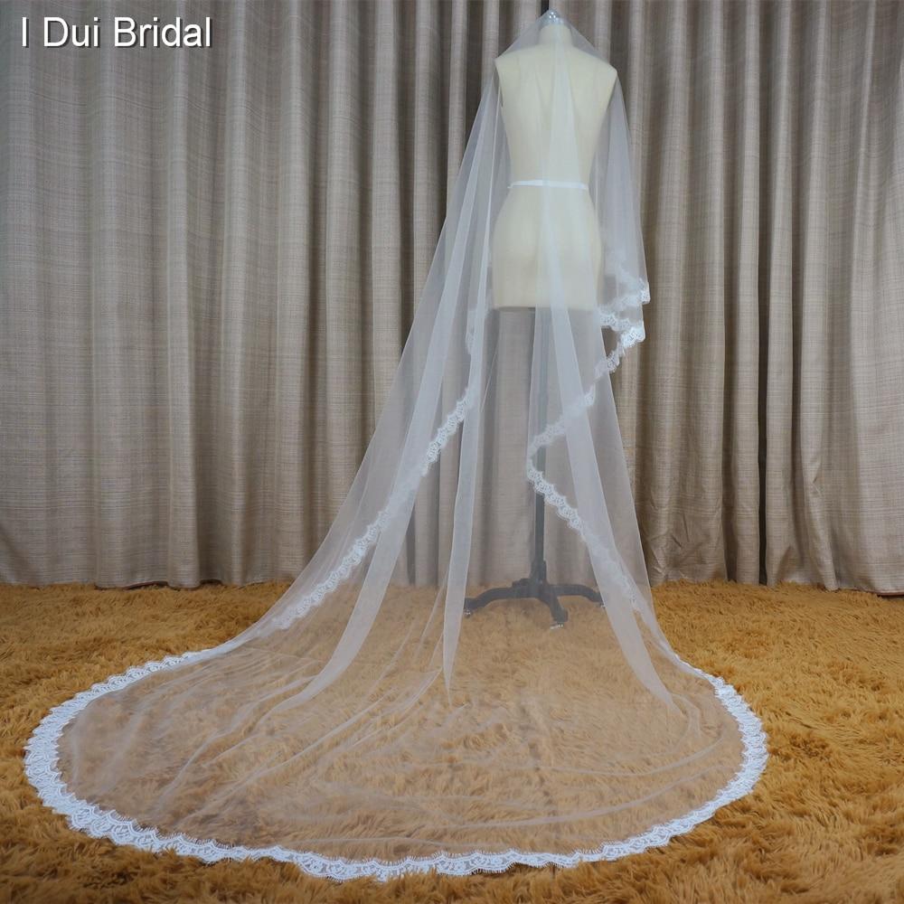 Alencon Eyelash Lace 3 meter lång brudslöjor bröllop hår - Bröllopstillbehör - Foto 5
