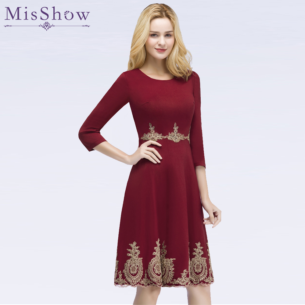 vestidos de fiesta cortos Womens Short   Cocktail     Dresses   Applique Vintage burgundy Knee Length Party Gown   Cocktail     Dress   2019
