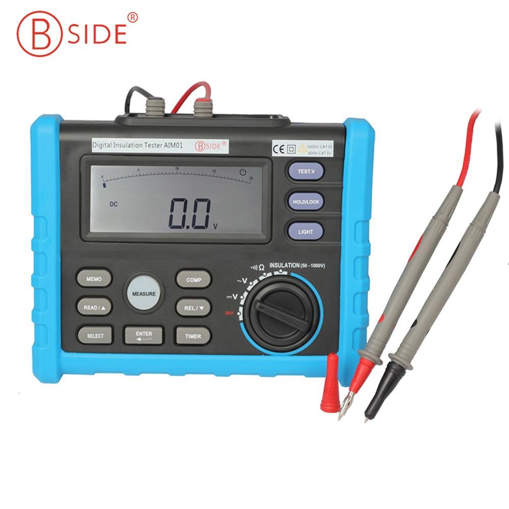 Bside AIM01 testeur de résistance à l'isolation numérique multimètre Megger 50 ~ 1000 V 0.01M ~ 10 GOhm
