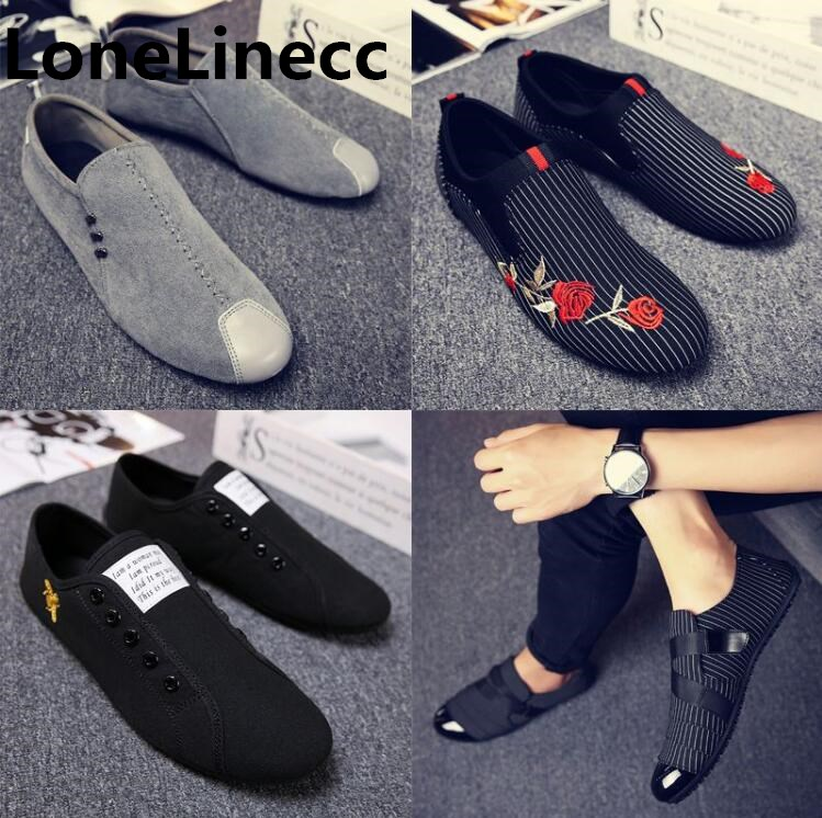 bbe0fa8a415 2018 Man Shoes Walking Ventilation Casual Male Men sapato masculino  embroidery canvas Slip Driving Moccasin Loafers Flat Shoes Z-in Men s  Casual Shoes from ...