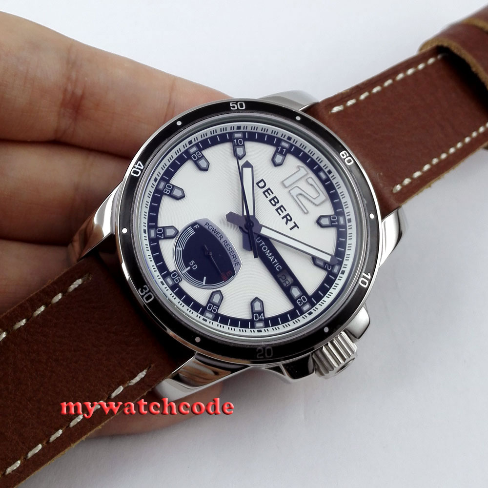лучшая цена 44mm Debert white dial Power reserve automatic movement mens wrist watch D8