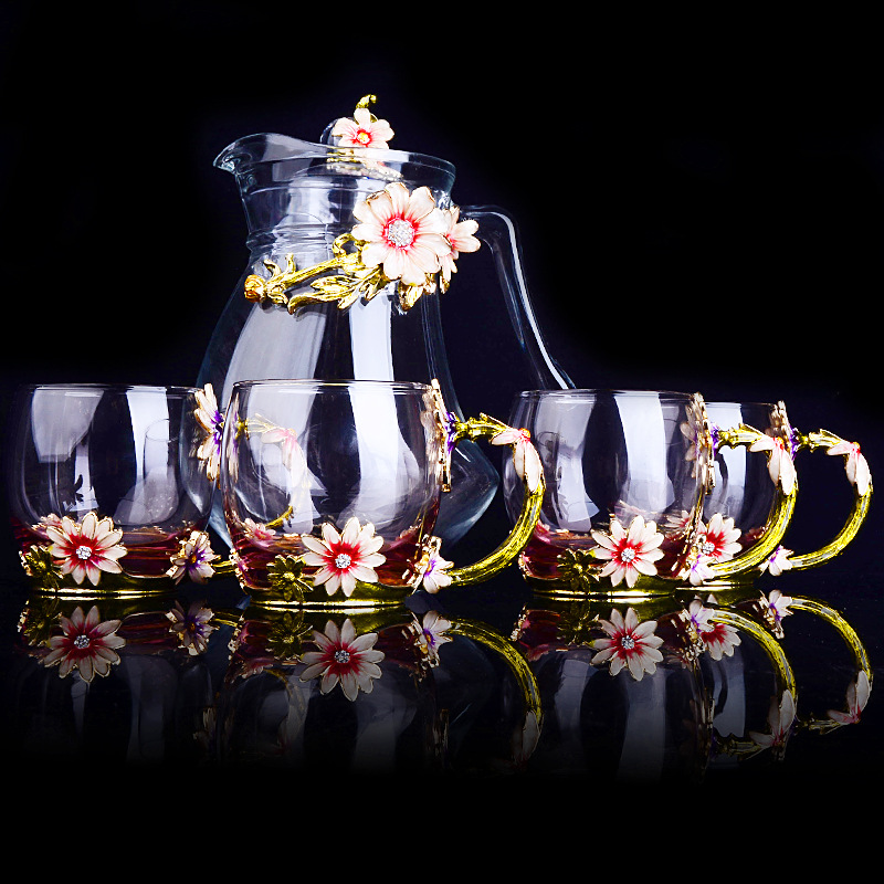 Europeo di colore dello smalto bollitore di vetro tazze di caffè set resistente al calore di tè di vetro di latte fiore tazza teiera amico regali-in Set accessori da caffè da Casa e giardino su  Gruppo 2