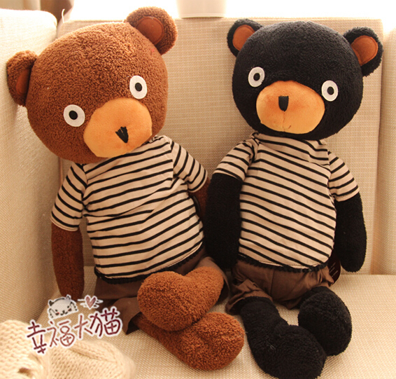 Gift for baby 1pc 36cm cute sugar sweet stripe T shirt bear bed pacify plush hold doll novelty children kids stuffed toy