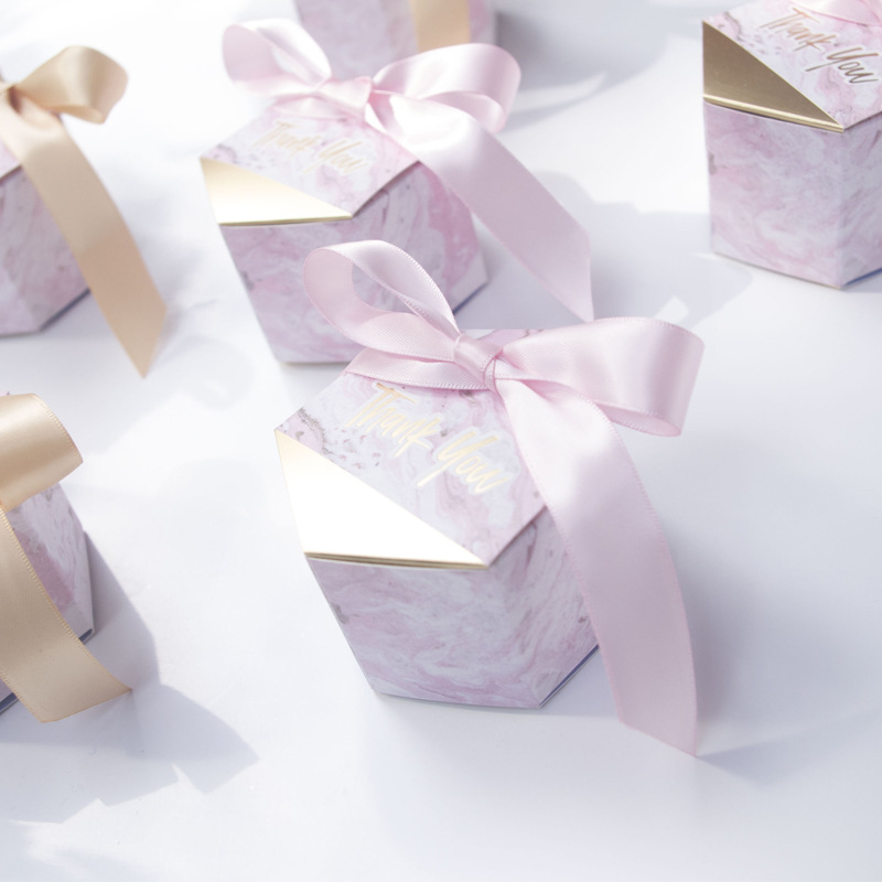 50/100pcs New Creative  Marble style Wedding Candy Box Favors Party Supplies Paper Gift Boxes With Thanks Card Ribbon(China)