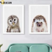 VERASUN Owl Hedgehog Umělecká reprodukce na plátně Tapety na plochu a výtisky Nordic Poster Wall Obrázky na obývací pokoj Pop Art Home Decor