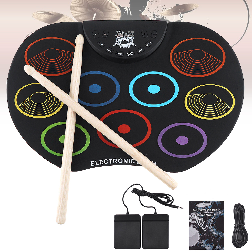Electronic Drum Portable Digital USB 9 Pads Colorful Roll up Set Silicone Electric Drum Kit with Drumsticks and Sustain PedalElectronic Drum Portable Digital USB 9 Pads Colorful Roll up Set Silicone Electric Drum Kit with Drumsticks and Sustain Pedal