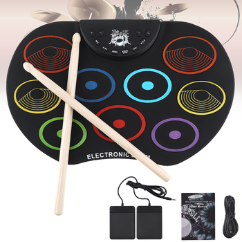 цена на Electronic Drum Portable Digital USB 9 Pads Colorful Roll up Set Silicone Electric Drum Kit with Drumsticks and Sustain Pedal