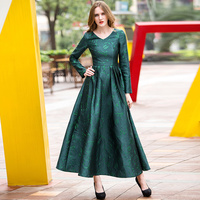 Green Embroidery V Neck Vintage Long Sleeves Womens Evening Photography Dress Wedding Party Ball Gown Long Dress Club 6657