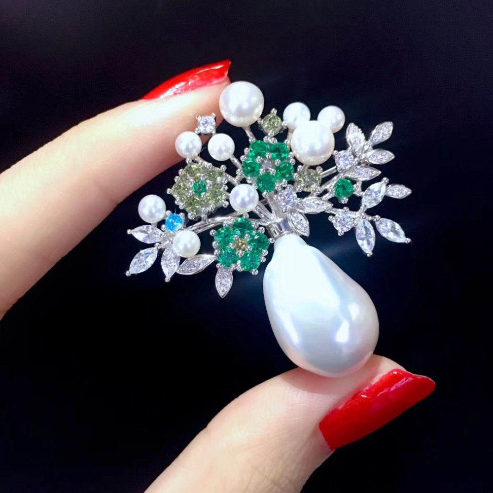baroque natural fresh water pearl vase jardiniere brooch pins 925 sterling silver with cubic zircon flower fashion women jewelry baroque natural fresh water pearl brooch pins copper with cubic zircon maple leaf brooch pins office career fashion women jewel