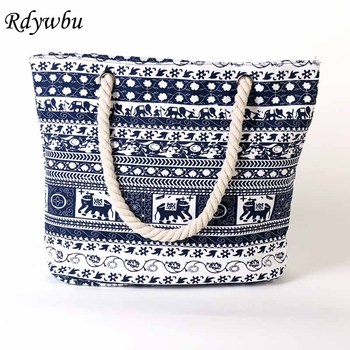Rdywbu 2017 Cartoon Elephants Printed Canvas Tote With Rope Women's Summer Casual Shopping Beach Bag Big National Handbag B136