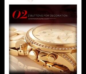 Image 5 - Drop Shipping 1 set Rose Gold Top Luxury Brand Women Rhinestone Watches Femme Calendar Waterproof Fashion Dress Ladies watch