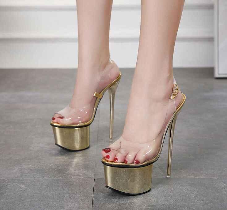 2019 yeni seksi balık ağzı şeffaf süper yüksek topuk kadın ayakkabısı Avrupa ve Amerika su geçirmez platformu gece kulübü sandalet 16 cm