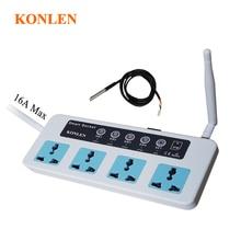 Konlen 16A GSM المقبس توقيت التبديل المنزل الذكية سيارات للأطفال تعمل بالريموت كنترول التوصيل 4 قناة التتابع مع استشعار درجة الحرارة