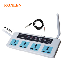Konlen 16a gsm soquete interruptor de temporização casa inteligente controle remoto plugue alimentação 4 canal relé com sensor temperatura