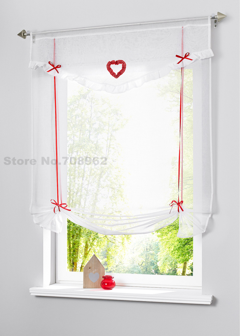 Ho how to tie balloon curtains - Love Patched Design Rod Packet Top Sheer Kitchen Balloon Tie Up Wave Curtain