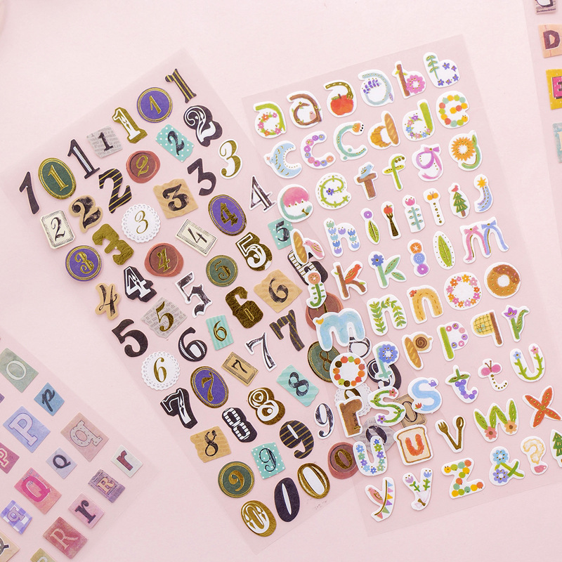 6 Pcs/lot English Gilding Letter Bullet Journal Decorative Stationery Stickers Scrapbooking DIY Diary Album Stick Lable