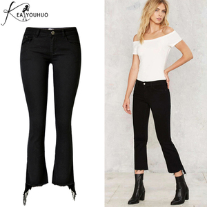 Spring 2018 Sexy Flare Jeans Woman High Waist Pantalon Femme Wide Leg Pants Big Size Women Pants Leggings Tassels Black Trousers