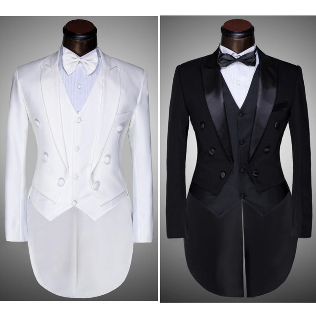 (Jaqueta + Calça + Colete + gravata borboleta) moda Masculina Ternos Fraque Smoking Do Baile de Finalistas Do Casamento Do Noivo Branco Preto Slim Fit Masculino Cantor