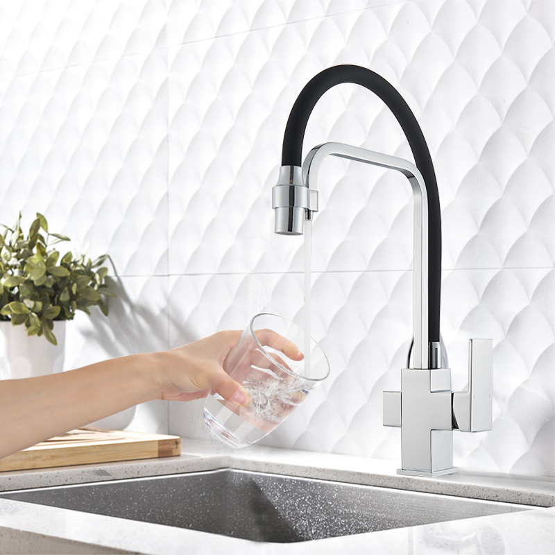Uythner Filter Kitchen Faucets Deck Mounted Mixer Tap 360 Rotation with Water Purification Features Mixer Tap Crane For Kitchen