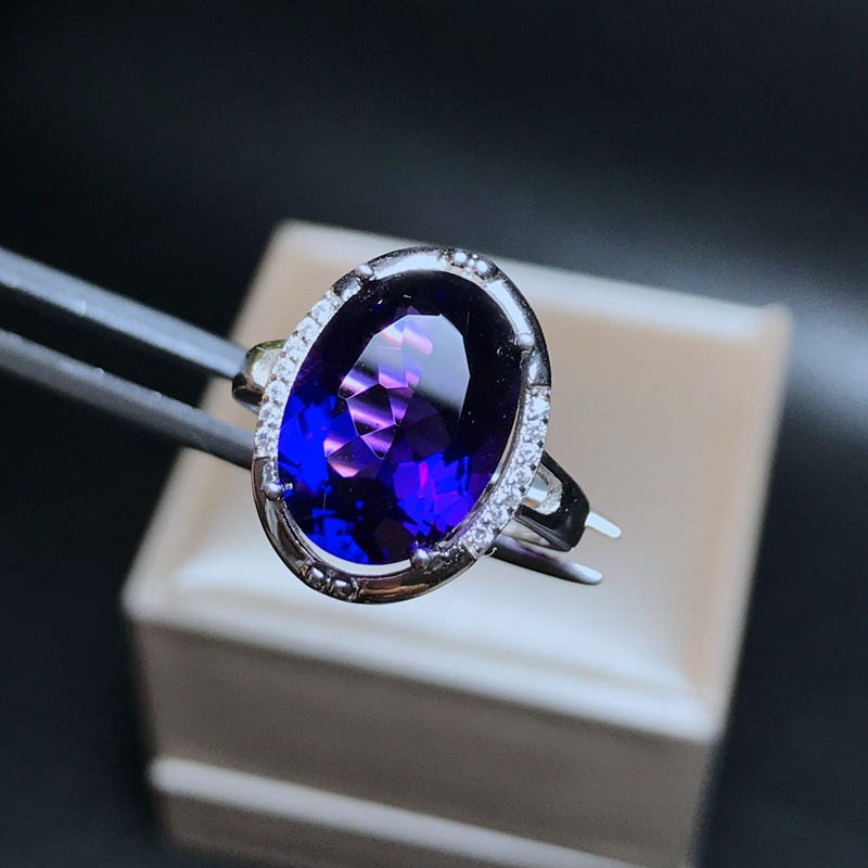 Image 5 - MeiBaPJ Natural Big Amethyst Gemstone Fashion Ellipse Simple Ring for Women Real 925 Sterling Silver Fine Charm JewelryRings   -