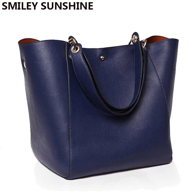 Для женщин Messenger плечо сумка большая из искусственной кожи сумка женский натуральная черная сумочка Леди Tote Сумка-мешок через плечо основной femme de marque
