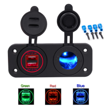 Universal 12/24V Car-charger LED 4.2A Cigarette Lighter Dual USB Power Socket Charger Panel For Car Boat Motor 12V