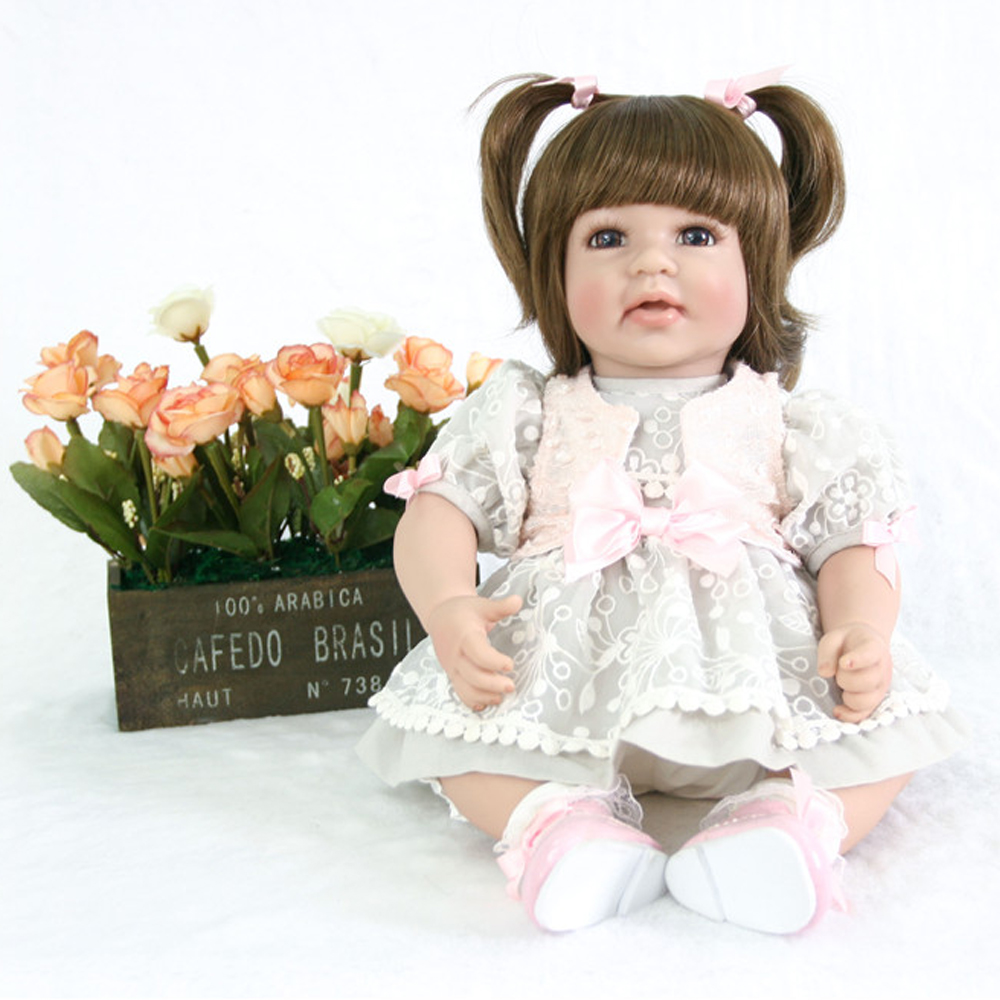 50cm cloth Body Silicone Reborn Girl Baby Doll Toy Pretty Princess Dress Newborn Babies Doll Cute Christmas Gift doll lol BJD