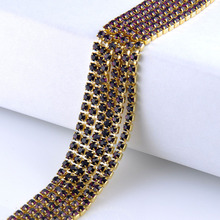 Single row rhinestones chain amethys crystals gold claw base cup chain stones and crystals strass sew on rhinestones for germent certain characterizations of tungsten ditelluride single crystals