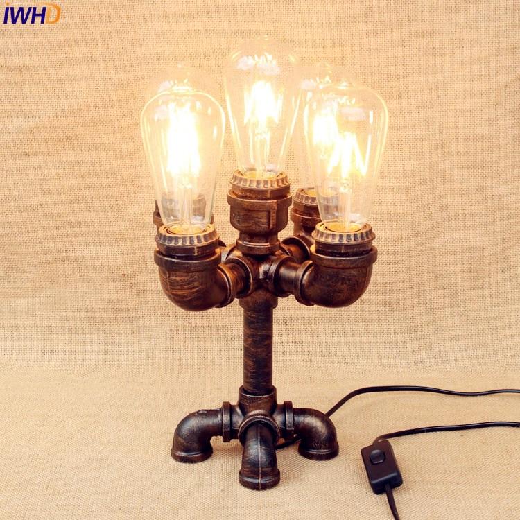Iwhd 5 голов Эдисон Светодиодные настольные лампы для Гостиная Спальня факел Стиль Лофт Промышленные настольная лампа Lamparas De Mesa