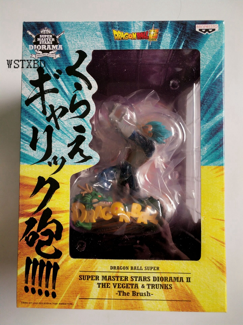 WSTXBD BANPRESTO Original Dragon ball Z DBZ SMSP Diorama Vegeta +Trunks The Brush Figure Toys Figurals Model Dolls Brinquedos wstxbd banpresto original dragon ball z dbz smsp goku manga color pvc figure toys figurals model dolls brinquedos