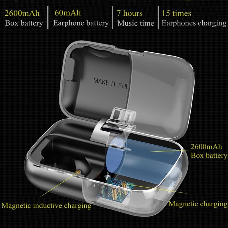 Bluetooth 5.0 véritable sans fil écouteurs étanche Bluetooth écouteurs Sport 3D stéréo son écouteurs avec boîte de charge pour téléphone - 3