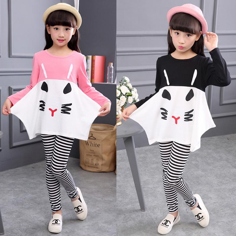 Cotton Children Clothing 3 4 5 6 7 8 9 10 Year Girls Clothes Long Sleeve Shirts Striped Leggings Kids Suits for Girls Pink Black 3m h6p3e cap mount earmuffs hearing conservation h6p3e ultra light with liquid foam filled earmuff cushions e111