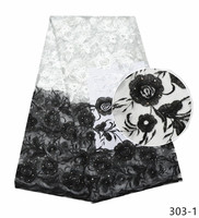 Black and white French Lace Fabric With Rhinestones Nigerian embroidery Fabric High Quality African Tulle Lace Fabric 303