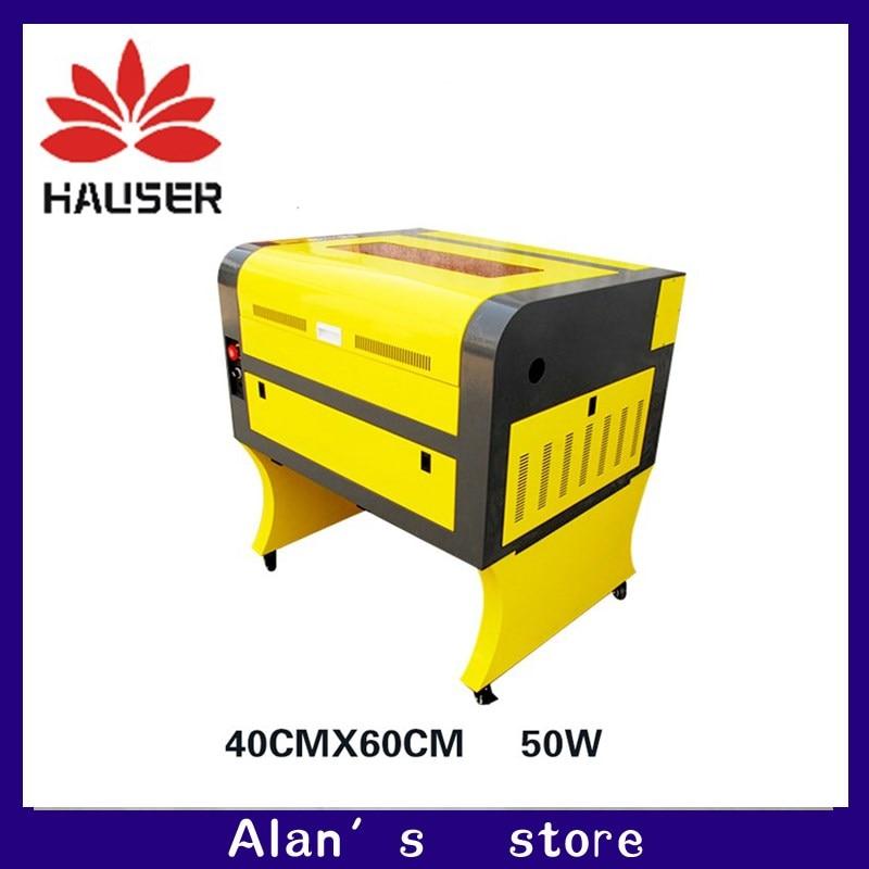 Il trasporto libero 50 w 4060 macchina per incisione laser co2, 220 v/100 v macchina di taglio laser CNC, alta configurazione incisore laser