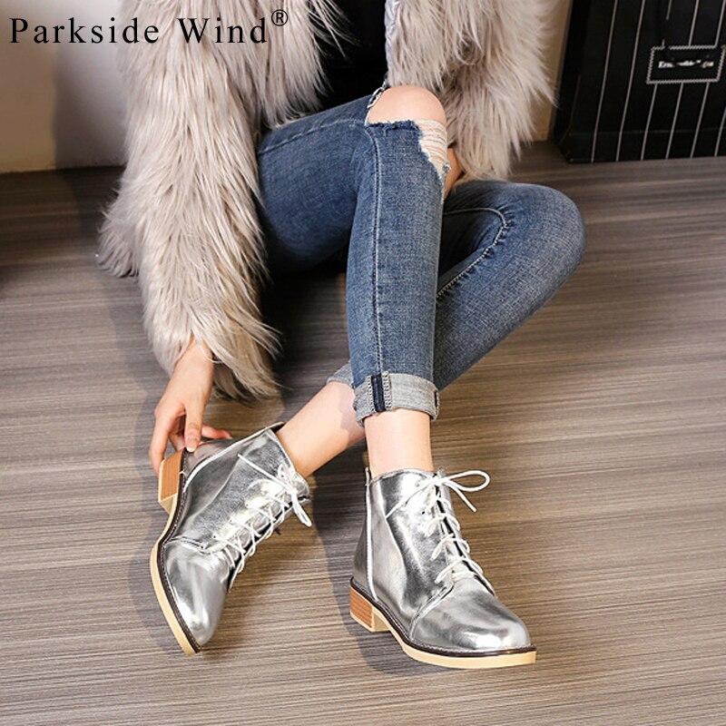 Parkside רוח נשים נעליים יומיומיות פטנט עור מתכת קישוט דירות נעלי אוקספורד נעלי אופנה בתוספת גודל 34-43 גבוהה- למעלה מגפיים