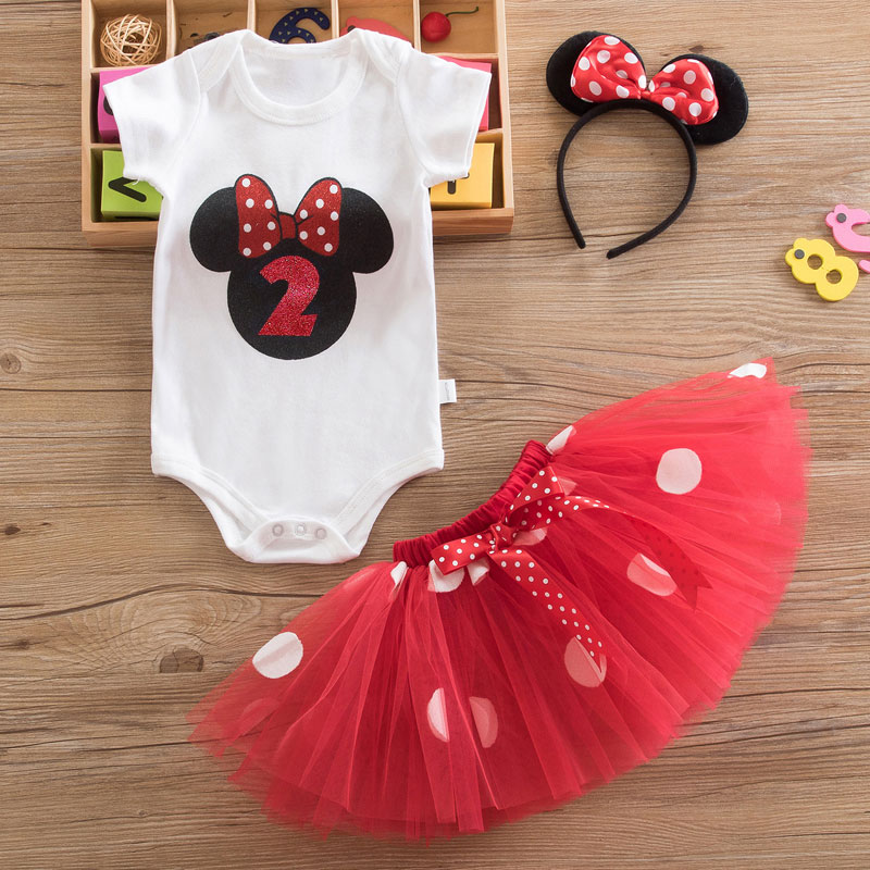 Fancy Minnie Dress For Girls First 2nd Birthday Party Minnie Mouse Dress for Baby Girl Clothing Outfits Christening Dresses 12M