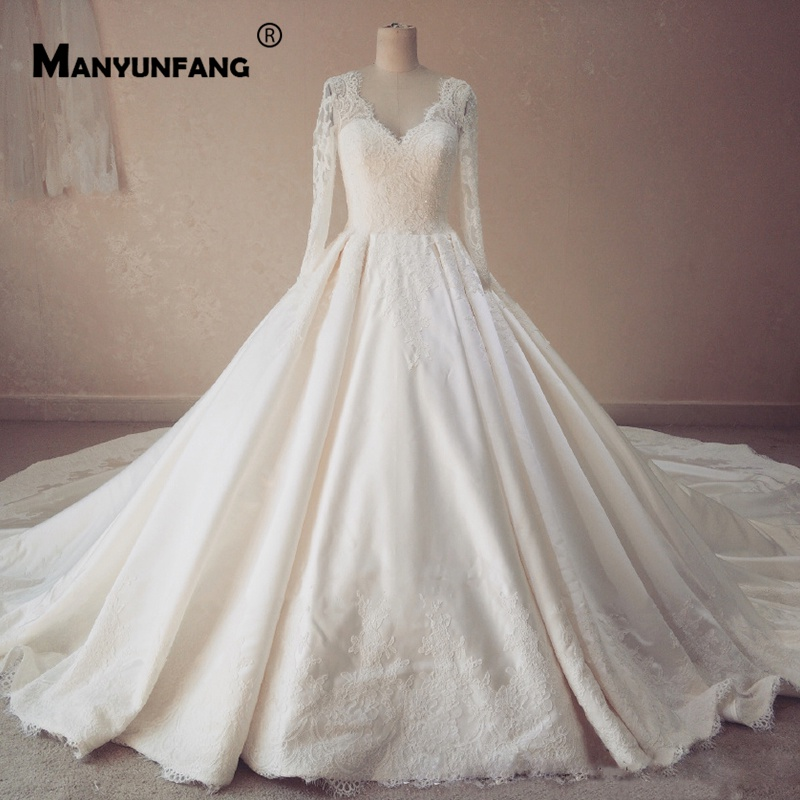 Wedding Dresses With Sweetheart Neckline And Sleeves: Full Long Illusion Sleeves Bridal Dresses Ball Gown