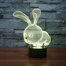 Table Lamp Birthday Gift 3D LED Cute Rabbit Acrylic Night Light Colorful Gradient Atmosphere Lamp Children Baby  foreign star wars millennium falcon 3d lamp acrylic stereoscopic led colorful gradient atmosphere lamp