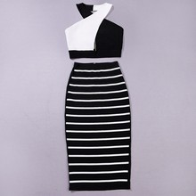 Summer new style HL Bandage 2 Piece Set Rayon Black white Striped Cutout halter Sexy Women