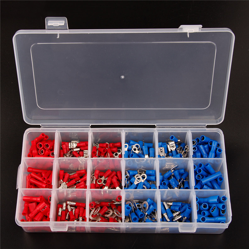 360pcs Electrical Crimp Terminals Insulated Butt Connectors Spade Ring Fork Copper Terminators Set With Storage Box Red Blue yt 480pcs insulated crimp terminals seal butt electrical wire cable spade ring fork crimping connector set with storage box