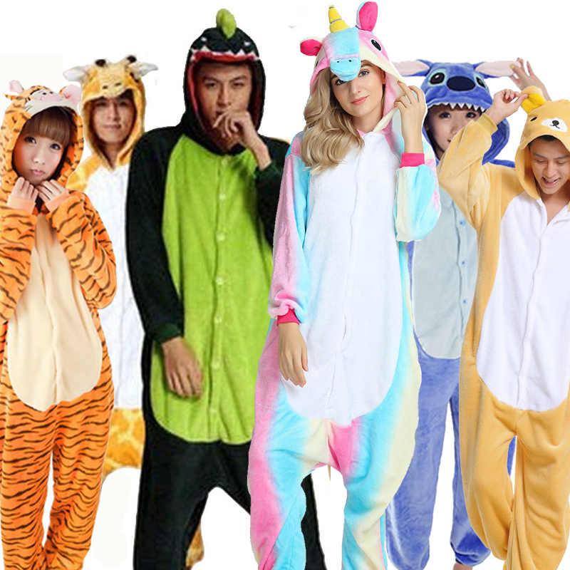 Greywalnut Halloween Spring Autumn Unicorn Stitch Panda Animal Flannel  Pajama Sets Cartoon Sleepwear For Women Men 371ce809f