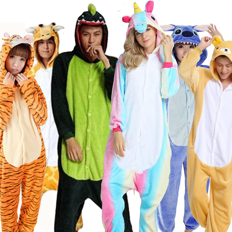 Greywalnut Halloween Spring Autumn Unicorn Stitch Panda Animal Flannel   Pajama     Sets   Cartoon Sleepwear For Women Men Pyjama