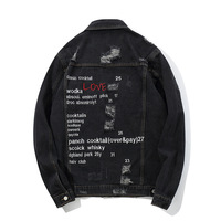 ABOORUN Mens Hip Hop Denim Jackets Oversized Black Graffiti Jeans Jackets Streetwear Autumn Ripped Coat for Male x1285