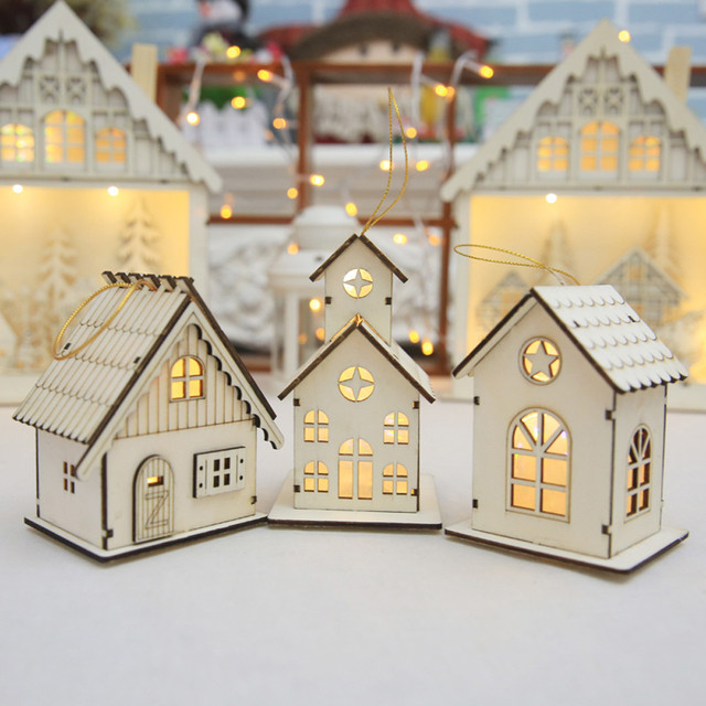 New year Christmas Led Luminous Cabins Pendant Table Cabins Pendant Ornaments christmas decoration for home enfeite de natal