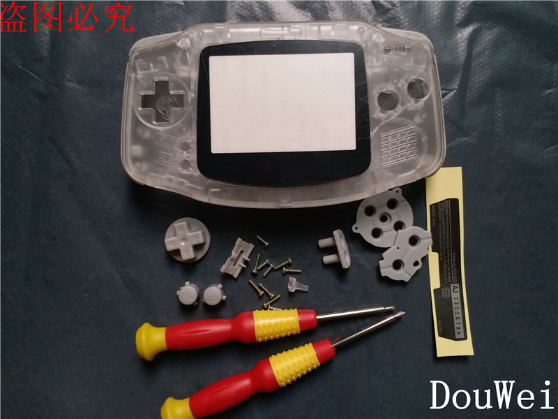 for Gameboy Advance Replace Housing Case Shell Full Set Housing for Nintendo GBA Game Console Transparent Color with Rubber Pad