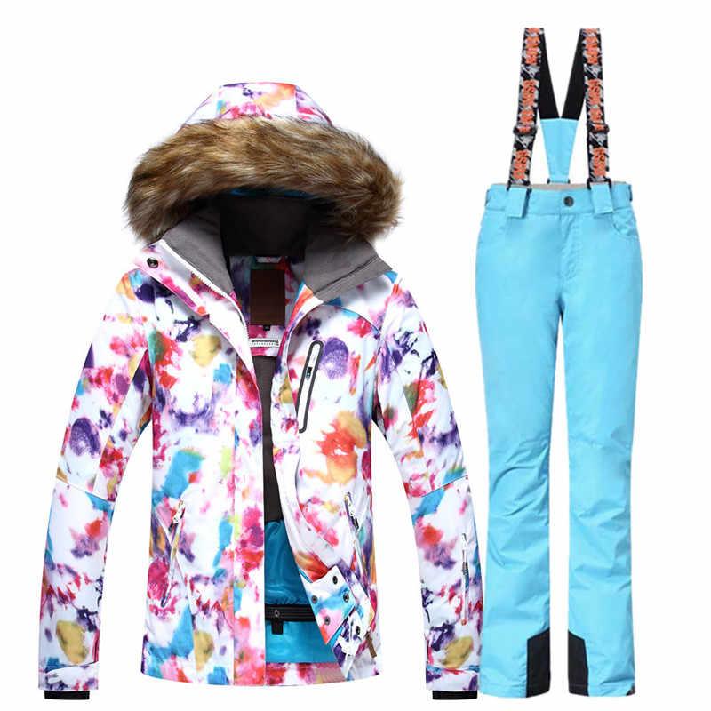Женский лыжный костюм наборы одежда для занятий сноубордингом водонепроницаемые ветрозащитные зимние костюмы лыжный костюм + брюки