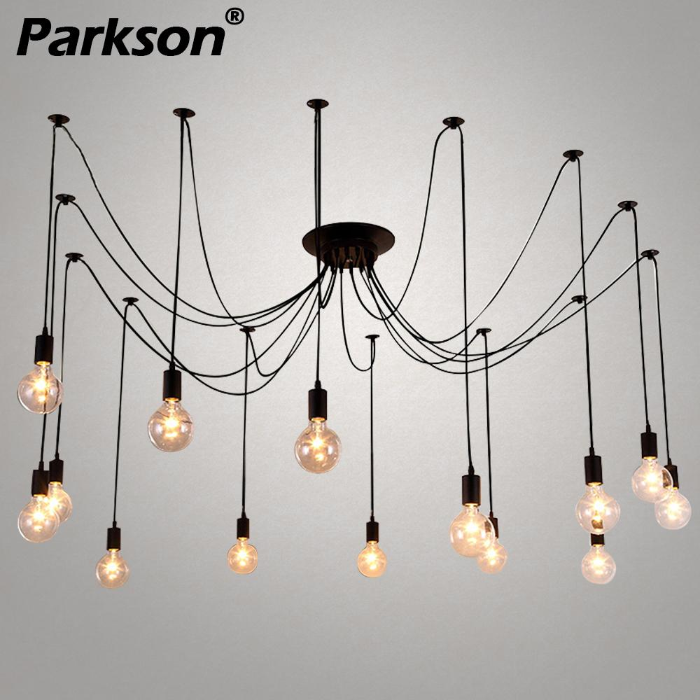 Mordern Nordic Retro Edison Bulb Pendant Lights Vintage Loft Antique Hanging Pendant Lamp Spider Diy Ceiling Suspension E27