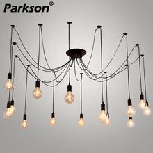 Mordern Nordic Retro Edison bombilla colgante luces Vintage Loft antiguo colgante lámpara araña Diy Suspensión de techo E27
