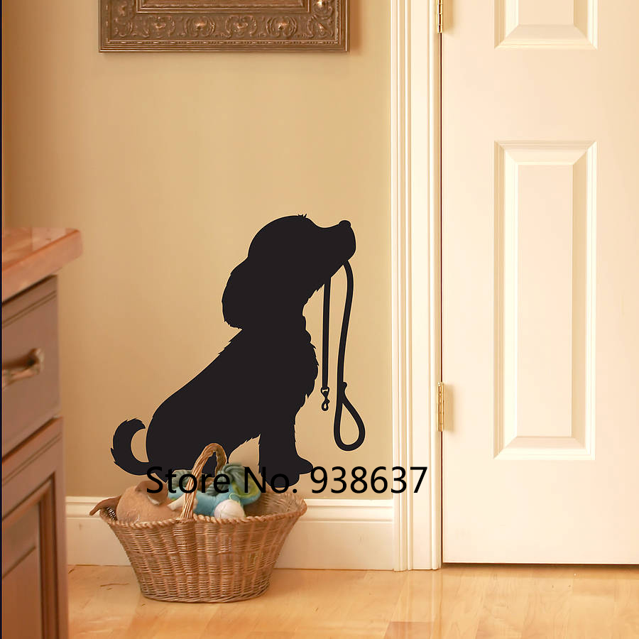 Puppy With Lead Wall Sticker for Living Room Viny Dog Stickers Removable Vinyl Cute Animal Wall Decals Bedroom Home Decor ZB437