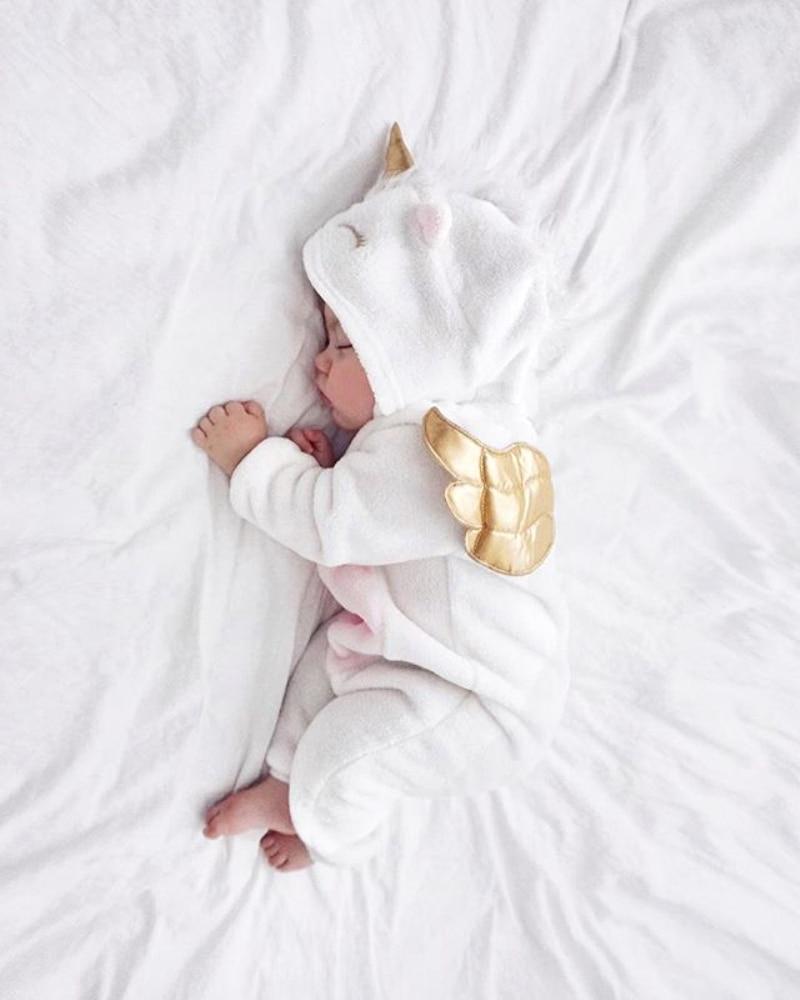 HTB1ptT2aorrK1RkSne1q6ArVVXa3 Emmababy Baby Girl 3D Unicorn Flannel Rompers Fashion ropa bebe girls Cartoon Hooded warm zipper Jumpsuit Newborn Romper Clothes